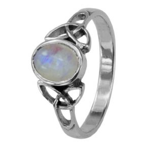 Celtic Trinity Knots Silver Birthstone Ring June - Moonstone 0553